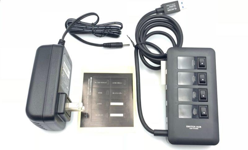 ELECOM 個別スイッチUSBハブの付属品
