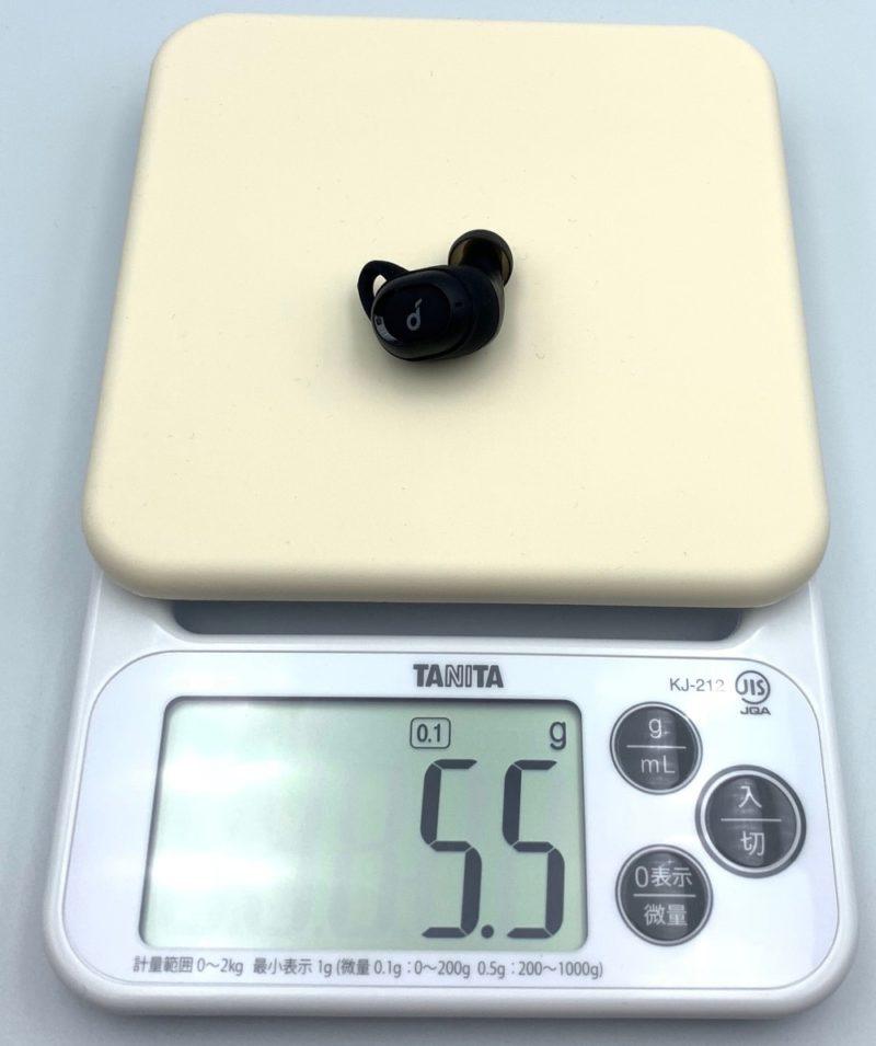 イヤホンの重さは5.5g