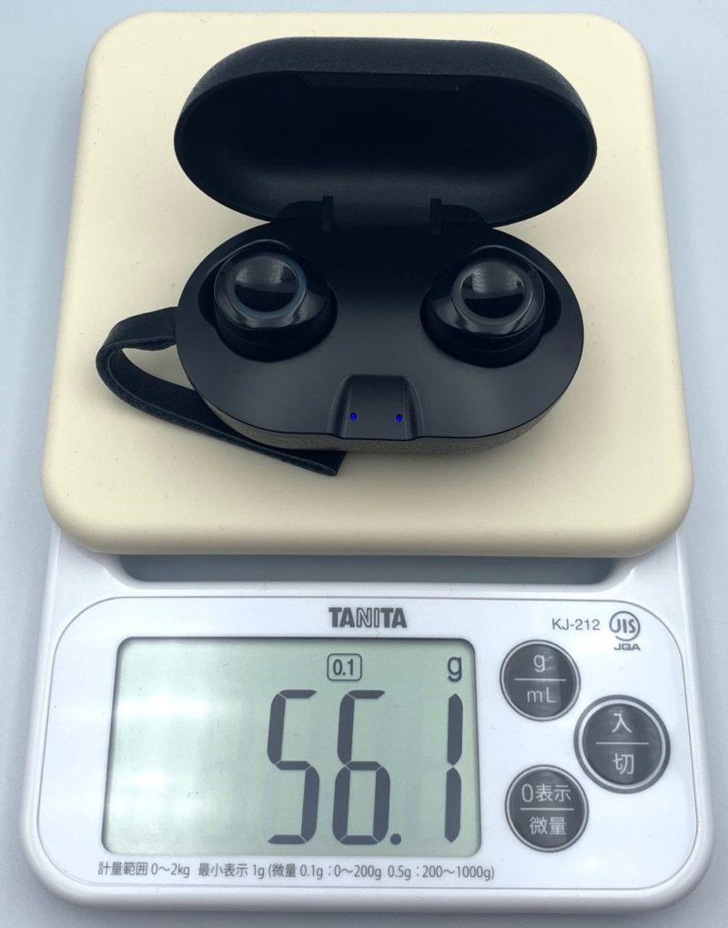 充電ケースとイヤホンを合計した重さは、約56.1g