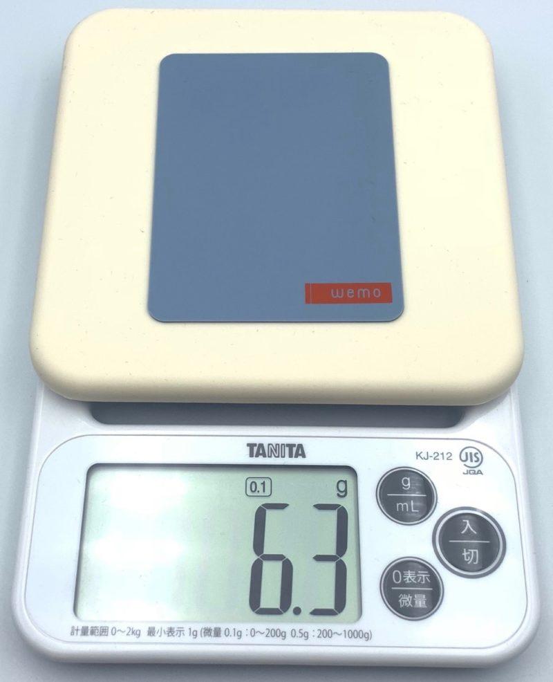 wemo パッドタイプ Mサイズの重さは 約6.3g