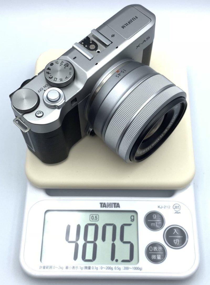 撮影する状態だと重さは約487グラム