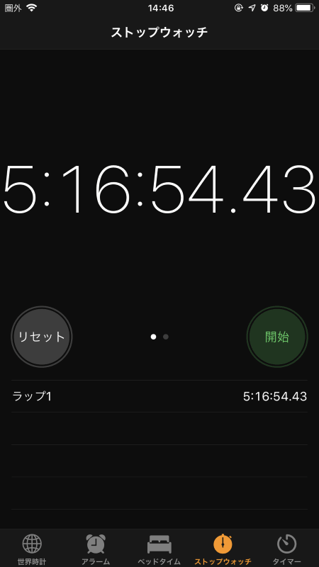 5時間17分くらいまで連続再生できました
