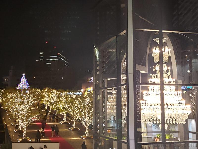 バカラシャンデリアとクリスマスツリーを同時に撮ることもできます。
