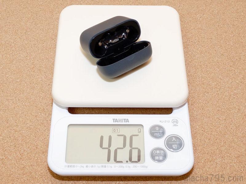 充電ケースだけだと重さは42gと軽量です