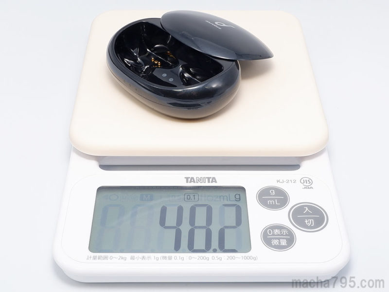 充電ケースだけだと重さは48gと軽量です。