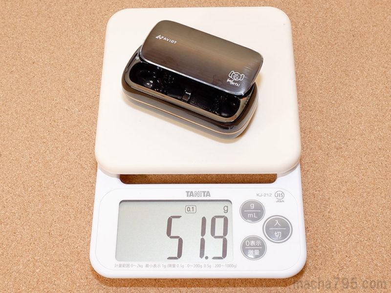 充電ケースだけだと重さは52gと軽量です。