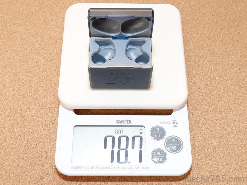 充電ケースだけの重さは79gです。