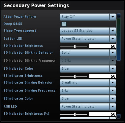 Secondary Power Settings