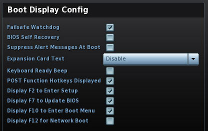 Boot Display Config