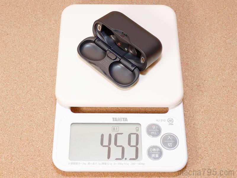 充電ケースだけの重さは46gと軽量です。