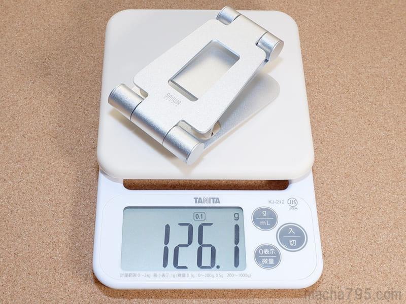 重さは公称値どおり126g
