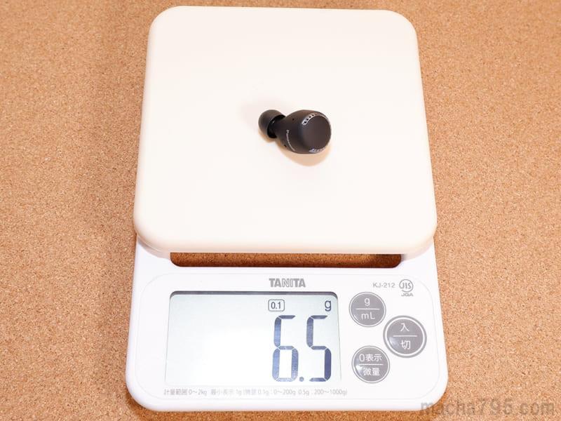イヤホンの重さは片耳1つだけでは 約6.5g