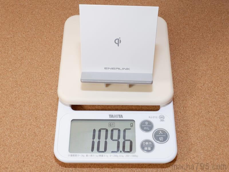 スタンド状態の重さは約110gです。