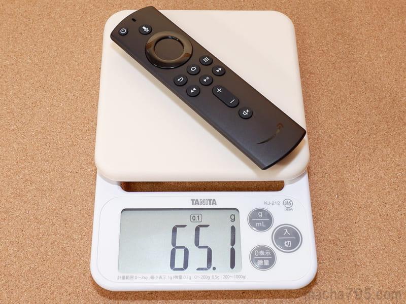 電池を含めたリモコンの重さは約65g