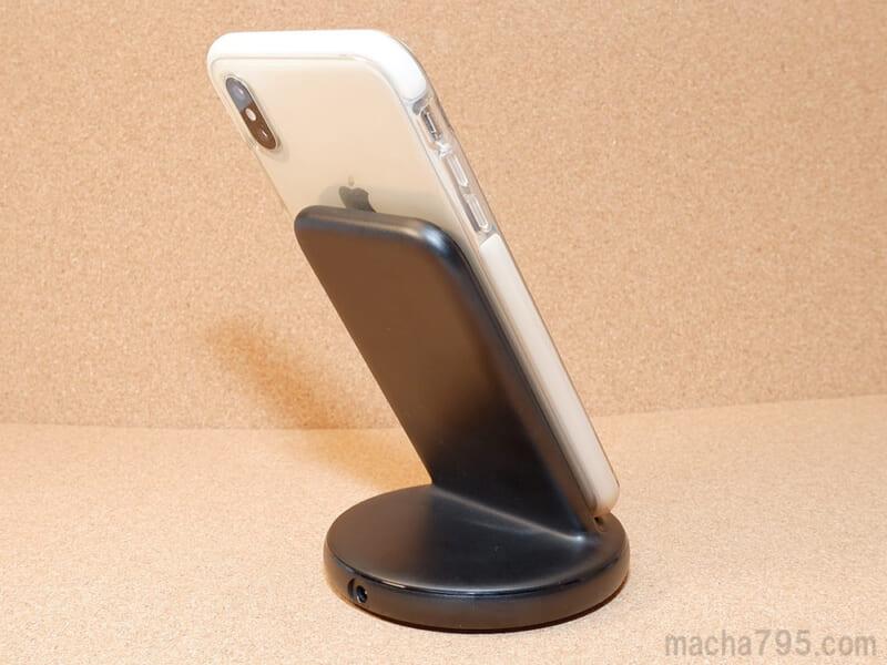 大きいiPhone XS Maxでも安定して立てられます。