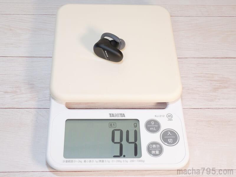 イヤホンの重さは片耳1つだけでは 約9.4g