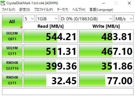 読み出し速度は544MB/s、書き込み速度は483MB/s