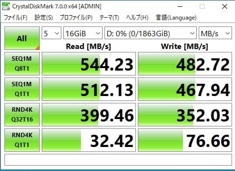 データサイズを16GBにして計測しても、速度は変わらない結果