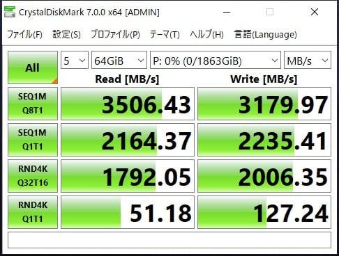64GBにして計測しても、速度は変わらない結果
