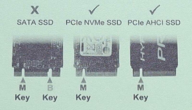 B-KeyであるSATA SSDなど対応していないものもあります
