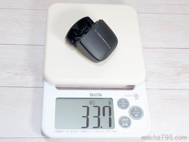 充電ケースだけの重さは34g