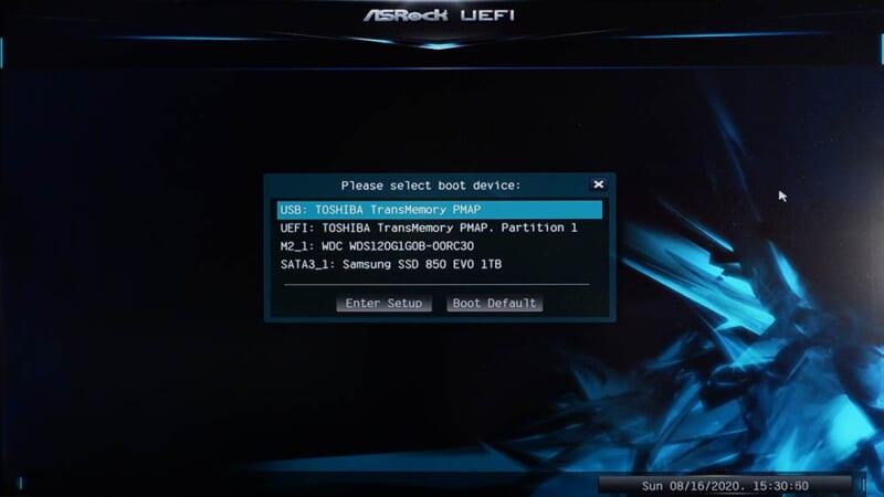 ブートドライブの選択画面からUSBメモリを選んで起動