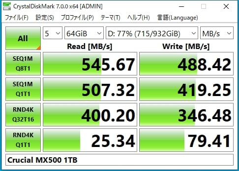 データサイズを64GBにして計測しても、速度は変わらない結果
