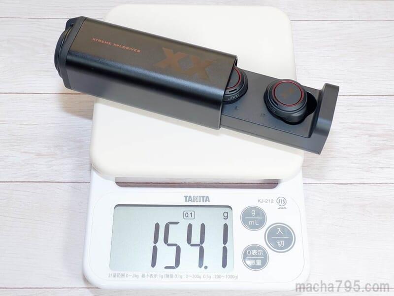 イヤホンも含めた合計の重さは、約154gです