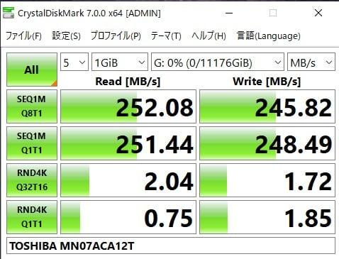 東芝MN07ACA12Tの速度