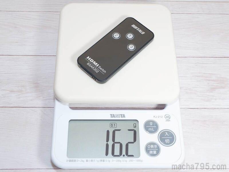 リモコンの重さは16g