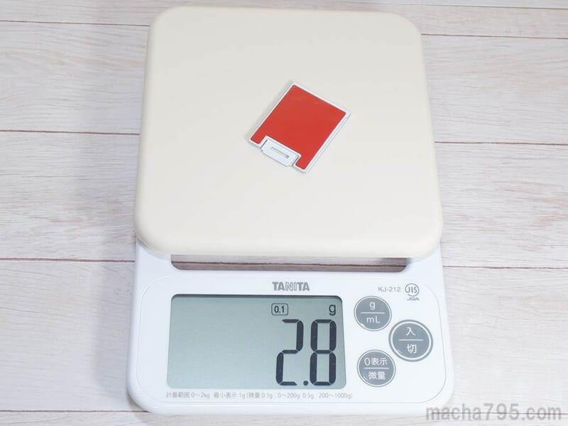 ベースプレートの重さは約2.8g