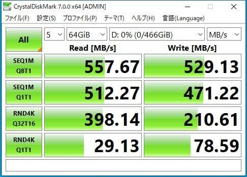 データサイズを64GBにして計測
