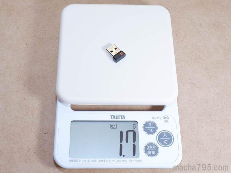 Unifyingレシーバーの重さは約1.7g