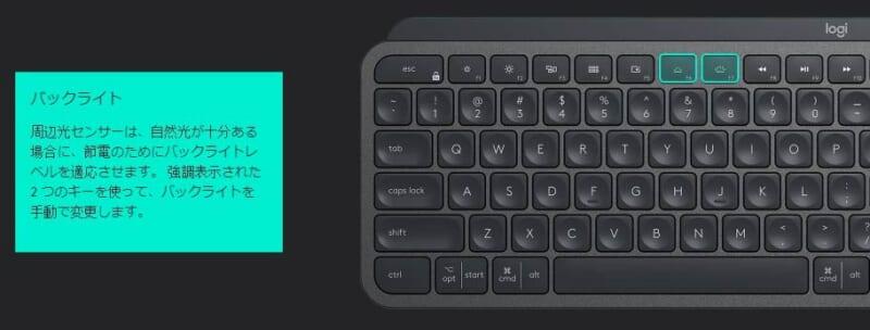 KX800 MX Keysのキーバックライト