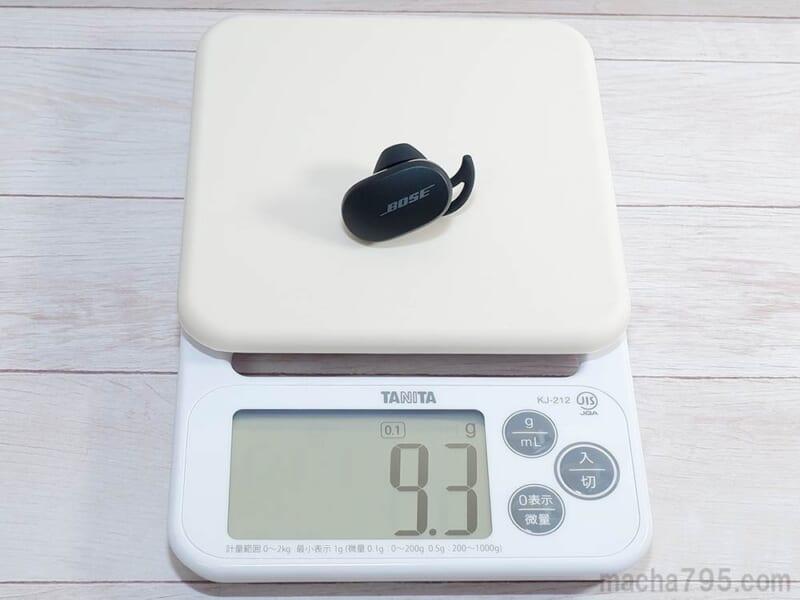 イヤホンの重さは片耳1つだけでは 約9.3g